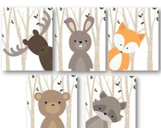 Woodland Nursery Decor - Woodland Nursery Art - Baby Boy Decor - Forest Animals Nursery - Animal Nursery - Animal Wall Art - PRINTS ONLY - Woodland Animal Decor, Forest Friends in or or Nursery Art, Cute for a Baby Showe -