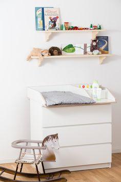 Wickelaufsatz 50 cm Breite mit zusätzlichen Fächern für Babyprodukte auf Ikea Malm Kommode