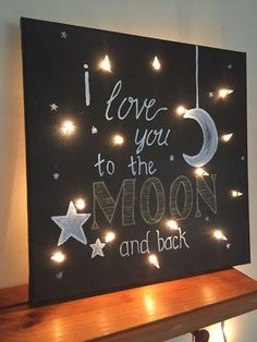 Items similar to I Love You to the Moon and Back Lighted Canvas in Black on Etsy I Love You to the Moon and Back Lighted Canvas by TheHopsonShop Diy Canvas Art, Canvas Crafts, Wood Crafts, Diy And Crafts, Canvas Artwork, Cadre Diy, Light Up Canvas, Canvas Lights, Art Floral