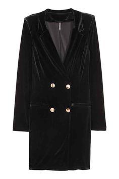Велюровое платье-пиджак - Черный - Женщины   H&M RU