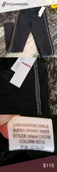 """Hudson Midrise Ankle Luna Super Skinny Jeans New Hudson Luna  Midrise Super Skinny Ankle Jeans in Washed Black with side embellished details!  5 pocket style Zip fly with button closure  Back welt pockets Tencel. Cotton. Elastan Multi Ester. Elastane. Made in China  Approximate measurements: Size 25 Flat waist 13"""" Rise 8.5"""" Inseam 27.5""""  Size 28 Flat waist 14.5"""" Rise 9"""" Inseam 28""""  Size 29  Flat waist 15.5"""" Rise 9.25"""" Inseam 29""""  Seen with Hudson Waxed Black Juliette and Nico Silver Jeans to…"""