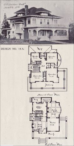 1908 House Plan - Classical Revival Foursquare - Western Home Builder - Design No. 14A - V. W. Voorhees - Seattle Washington