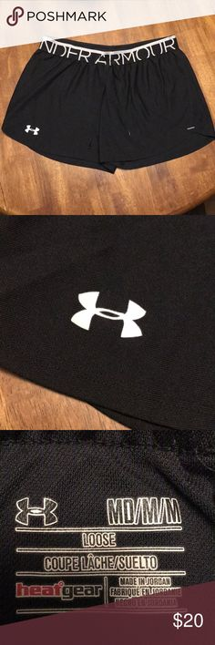 """Under Armour Shorts Women's Medium Great pair of Under Armour shorts! Size medium. Tag says """"loose"""". These are unlined. The logo is still perfectly in tact with no cracking. No snags and no fading. In great condition!! Please make me an offer or bundle with other items in my closet to save even more!! ☺️☺️ Under Armour Shorts"""