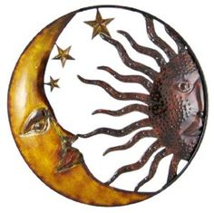 Celestial Hand Painted Sun Moon Metal Art Wall Hanging,$29.99