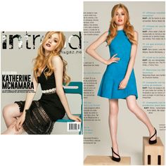 Beautiful actress Katherine McNamara , the star of Shadowhunters tv series, wearing our blue suede leather dress in the April issue of Intrend Magazine in Mexico
