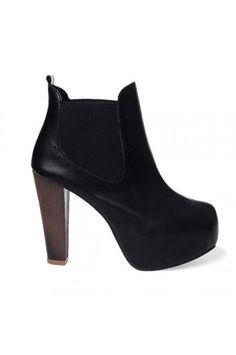 $29.99 Black Faux Leather Hidden Platform Chunky Heel Booties