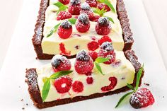 {Chocolate and Raspberry Cheesecake} The gluten-free biscuit base, lemony cream filling and fresh berries make this no-cook make-ahead dessert a guaranteed winner. From taste.com.au magazine