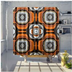 Shower Curtain Bathroom Curtains, Samba, Sunday, Shower, Retro, Rain Shower Heads, Domingo, Showers, Retro Illustration