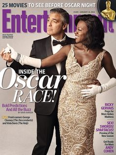 George Clooney and Viola Davis on the cover of Entertainment Weekly. George Clooney Oscar, Octavia Spencer, Oscar Night, Viola Davis, Ricky Gervais, Celebrity Magazines, Black Actors, Oscar Dresses, Bikini