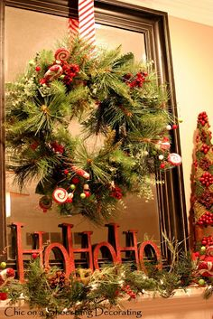 But say something different than HoHoHo Christmas mantle by eli.na-Loke the wreath on mirror idea. Merry Little Christmas, Noel Christmas, Country Christmas, Winter Christmas, Vintage Christmas, Thanksgiving Holiday, Victorian Christmas, Vintage Santas, Vintage Ornaments