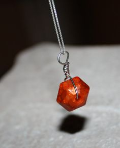 Wire Wrapped Orange Geometric Pendant Silver 20 by BellaGioielli1, $8.00