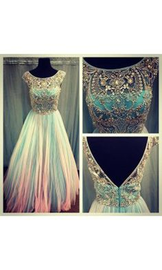 Dazzling Sparkles Pleated Ball Gown Shown In Aqua/ Pink 2984