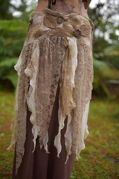 Leder anstatt der Stofffetzen -> fur Belt  Nuno Filz Waldland Pixie Fairy Nymph Seide Lace von frixiegirl