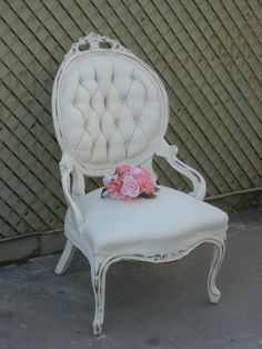 Beautiful French Country shabby cottage chic Victorian Revival vintage wood ornate armchair chair. $240.00, via Etsy This is gonna be mine!! Can't wait