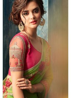 Green and Pink Embroidered Silk Chiffon Saree, blouse has beautiful work specially the Chabutra part in sleeves, rest blouse has minimal design Silk Saree Blouse Designs, Bridal Blouse Designs, Saree Blouse Patterns, Chiffon Saree, Silk Chiffon, Sari Silk, Saree Dress, Beautiful Girl Indian, Beautiful Saree