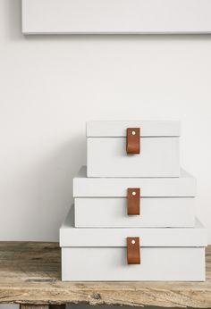 Härom dagen när jag gick in på Lagerhaus hittade jag de allra finaste lådorna i mörkblå nyans med läderdetaljer. Jag tänkte att det där kan jag väl göra själv istället för att köpa....
