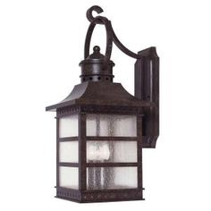 Illumine 3-Light Wall Mount Lantern Rustic Bronze Finish Pale Cream Textured Glass-CLI-SH202853177 at The Home Depot