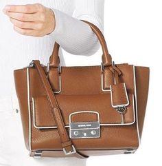 1d82de877de1 Michael Kors Leather Cross Body Satchel Tote Bag Purse Luggage Brown NWT