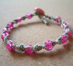 Natural Hemp Macrame Bracelet with Magenta Sparkle Beads (EBSQ) by Groovy Pumpkin, via Flickr