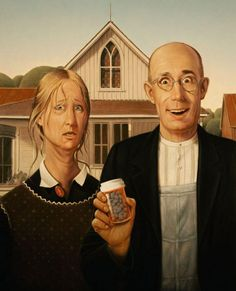 Love In The Time Of Viagra. Introducing Viagra and other erectile dysfunction drugs into a relationship is more complicated than many couples realize. Famous Art Pieces, Famous Artwork, American Gothic Parody, American Art, Pop Art, Grant Wood, Angel Warrior, Fairytale Fantasies, Gothic Art