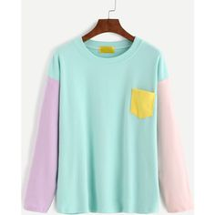 Color Block Dropped Shoulder Seam Patch Pocket T-shirt ($12) ❤ liked on Polyvore featuring tops, t-shirts, multicolor, green tee, long sleeve cotton t shirts, long sleeve t shirts, green long sleeve t shirt and green top