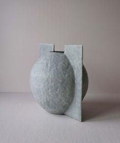 Blue-White Metallic Gradient Raku Vase