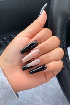 Black Coffin Nails, Acrylic Nails Coffin Short, Coffin Shape Nails, Best Acrylic Nails, Black And Nude Nails, Pointy Black Nails, Turquoise Acrylic Nails, Cute Black Nails, Long Black Nails
