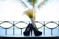 """Display your """"something blue"""" shoes with your gorgeous wedding bouquet #DreamsLosCabos #Mexico #Destinationwedding"""