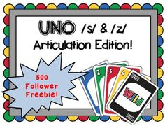 Free! Uno like game follows the rules of UNO (R) by Mattel, but is customized for speech therapy by featuring target words that contain /s/ and /z/ sounds.
