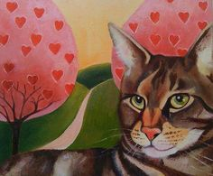 Original Oil Painting  Whimsical Cat Portrait Cat Art Nursery Art on Canvas Panel
