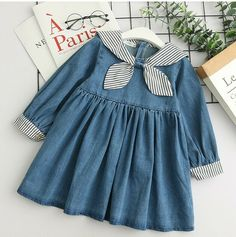 Children Baby Girls Clothes Princess Dresses Party Costume Tops 3 to 8 with . Kids Dress Wear, Kids Outfits Girls, Toddler Girl Dresses, Little Girl Dresses, Toddler Outfits, Girl Outfits, Baby Girl Dress Patterns, Baby Dress Design, Denim And Lace