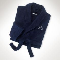 $96-This relaxed-fitting unisex bathrobe Turkish cotton monogrammed Gage