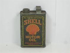 Old Advertising Garage Tin Can Miniature Shell Motor Oil Image 5
