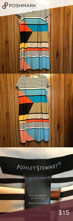 Woman's Fashionable Dress Woman's Multicolored Striped Dress, Size 18/20. Never worn and in excellent condition. Ashley Stewart Dresses
