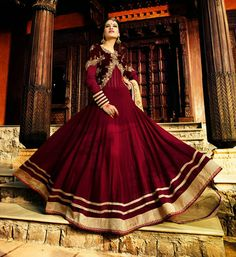 Maroon Pure Bamberg Floor Length Anarkali Suit 47439. another just inspire