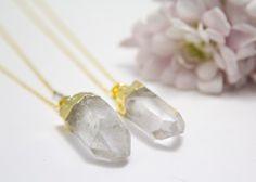 Beautiful raw quartz jewelry