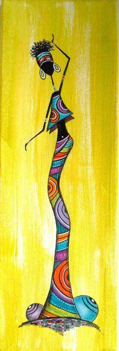 Kunst Bilder ideen - Afficher l& d& Black Art Painting, Fabric Painting, Afrique Art, African Art Paintings, Art Premier, African American Art, African Girl, Art Abstrait, Art Drawings Sketches