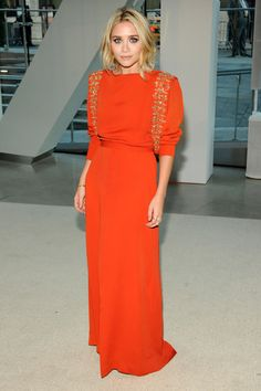 WOW. This is my favorite look on Ashley Olsen (who always looks incredible). This dress works on any age and I WANT it! Fashion and Style Photos - ELLE.com