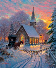 Carriage Chapel Jigsaw Puzzle by Mark Keathley - Beloved Gift Shop Vintage Christmas Cards, Christmas Pictures, Christmas Art, Beautiful Christmas, Winter Christmas Scenes, Beautiful Winter Scenes, Retro Christmas, Christmas Decorations, Illustration Noel