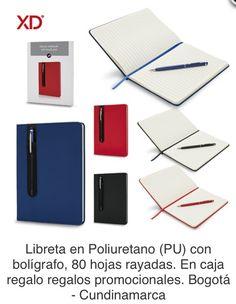 Libreta en Poliuretano (PU) con bolígrafo, 80 hojas rayadas. En caja regalo. Tipo de Producto: IMPORTADO Medidas: 14.3 cm x 20 cm. Área de Marca: 5 cm  Técnica de Marca: Tampografía Colores Disponibles: Azul, Negro y Rojo.