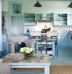 blue kitchen - #ClippedOnIssuu from Vintage Beautiful 2014