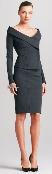 Donna Karan Off-the-shoulder Jacket & Pieced Skirt – gorgeous office outfit (if I worked in a business-attire office:)) Dress For Success, Donna Karan, How To Have Style, Work Fashion, Fashion Design, Business Outfit, Business Lady, Work Attire, Dress Me Up