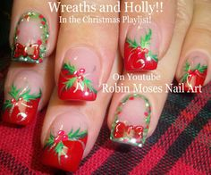 """Robin Moses Nail Art: """"Christmas nails"""" """"Xmas Nails"""" """"christmas nail art"""" """"christmas wreath ideas"""" """"christmas"""" """"holiday"""" """"xmas"""" """"nail art"""" """"cute xmas nails"""" """"cute christmas designs"""" """"holly berries"""""""