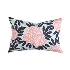Navy Fleur Lumbar Pillow - We love this gorgeous floral pattern pillow in the nursery! #PNshop
