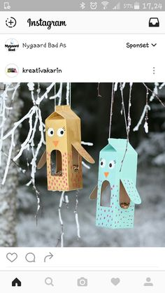 Today we drive with my Märstavän Fr .- Today we drive with my m . Bird Feeder Craft, Bird Feeders, Easy Crafts, Diy And Crafts, Arts And Crafts, Winter Crafts For Kids, Diy For Kids, Toddler Crafts, Kids Crafts