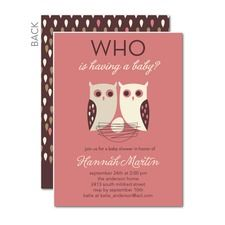 Whose Nest: Mauve Baby Shower Invitations