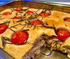 Focaccia z pomidorami Pie, Desserts, Food, Torte, Tailgate Desserts, Cake, Deserts, Fruit Cakes, Essen
