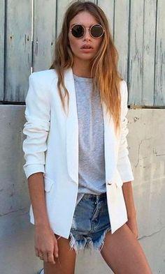 Look Óculos de Sol Redondo + Blazer Off-White Combinação De Roupas 7a5697de57c