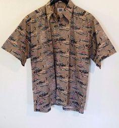 Avi Collection By Kahala Hawaiian Shirt Hawaii Hand Crafted XL Sword Beige Brown #Kahala #Hawaiian