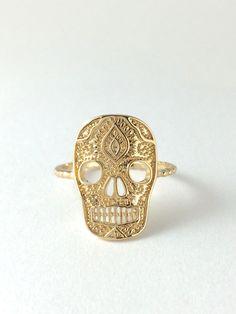 Sugar Skull, Skeleton,14 Karat Gold filled ring,Mexican Skull,gold vermeil,Statement Ring on Etsy, ₱1,916.67